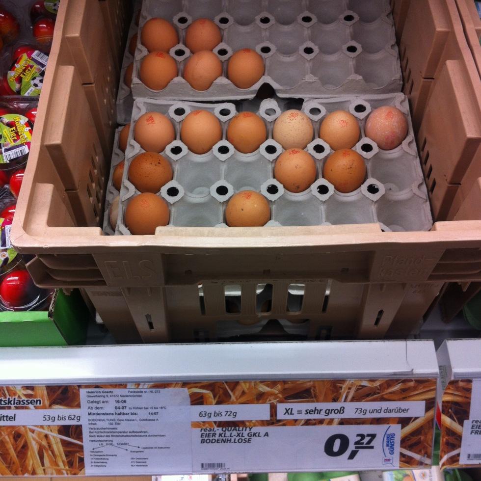 Venta de huevos por unidades en supermercado aleman
